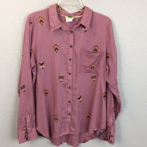 Anthro county fair embroidered button up shirt -18